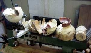 Just of few of the wooden bowls that failed at different stages of the process.